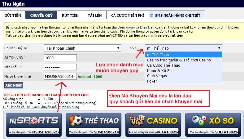 """Điền chính xác thông tin trong mục """"Chuyển quỹ"""" để tiến hành đặt cược"""