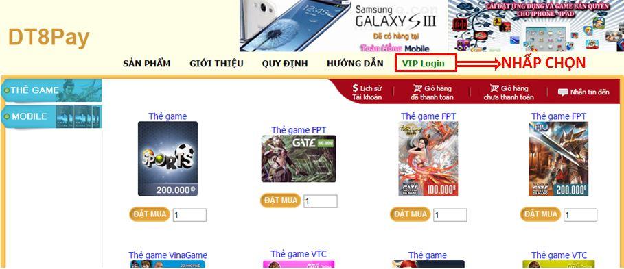 """Click vào """"VIP Login"""" để xuất hiện cửa sổ đăng nhập ví điện tử Ngân Lượng"""