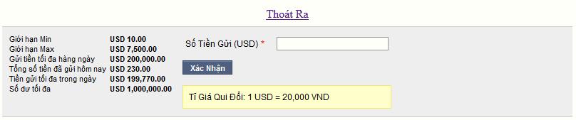 """Điền số tiền muốn gửi vào tài khoản cá độ ở mục """"Số tiền gửi (USD)"""""""