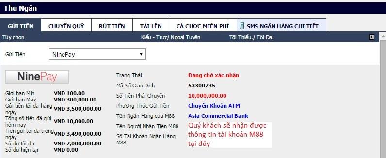 Bạn nhận được thông tin tài khoản ngân hàng của M88 để chuyển khoản