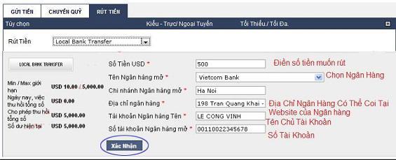 Điền đầy đủ thông tin ở mục RÚT TIỀN để nhanh chóng nhận được tiền về tài khoản ngân hàng