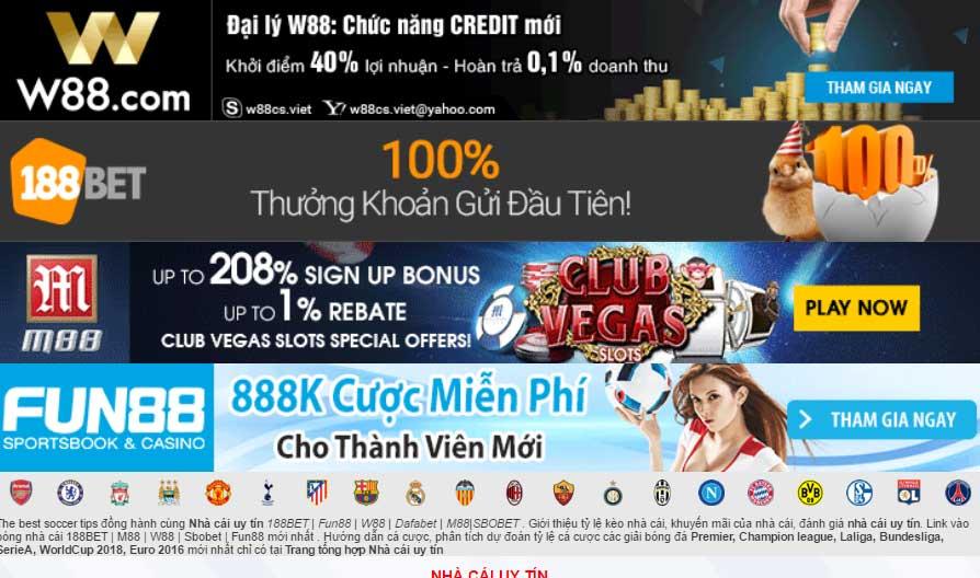M88, 188Bet và W88 là top 3 nhà cái uy tín nhất Việt Nam và châu Á