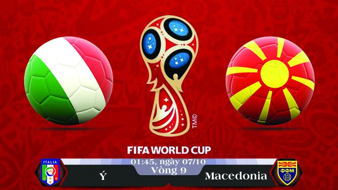 Soi kèo bóng đá Ý vs Macedonia 01h45, ngày 07/10 Vòng Loại World Cup 2018