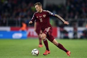 Tài năng trẻ Denis Cheryshev của đội tuyển Nga tham dự Euro 2016