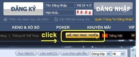 """Chat với nhân viên M88 tại mục """"Hỗ trợ trực tuyến"""""""