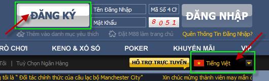"""Hướng dẫn đăng ký tài khoản M88: Chọn giao diện tiếng Việt rồi ấn """"ĐĂNG KÝ"""""""