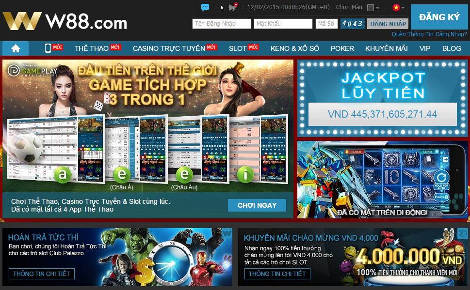 Giao diện website tiếng Việt của nhà cái trực tuyến W88