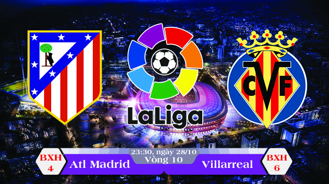 Soi kèo bóng đá Atletico Madrid vs Villarreal 23h30, ngày 28/10 La Liga